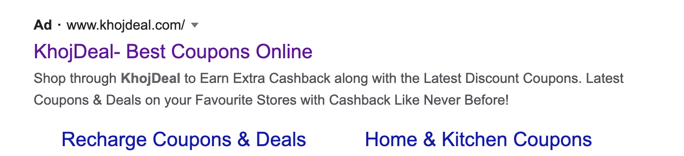 Google ads preview of the Khojdeal