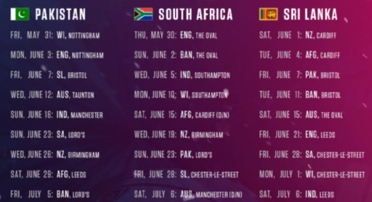 cricket world cup 2019 schedule