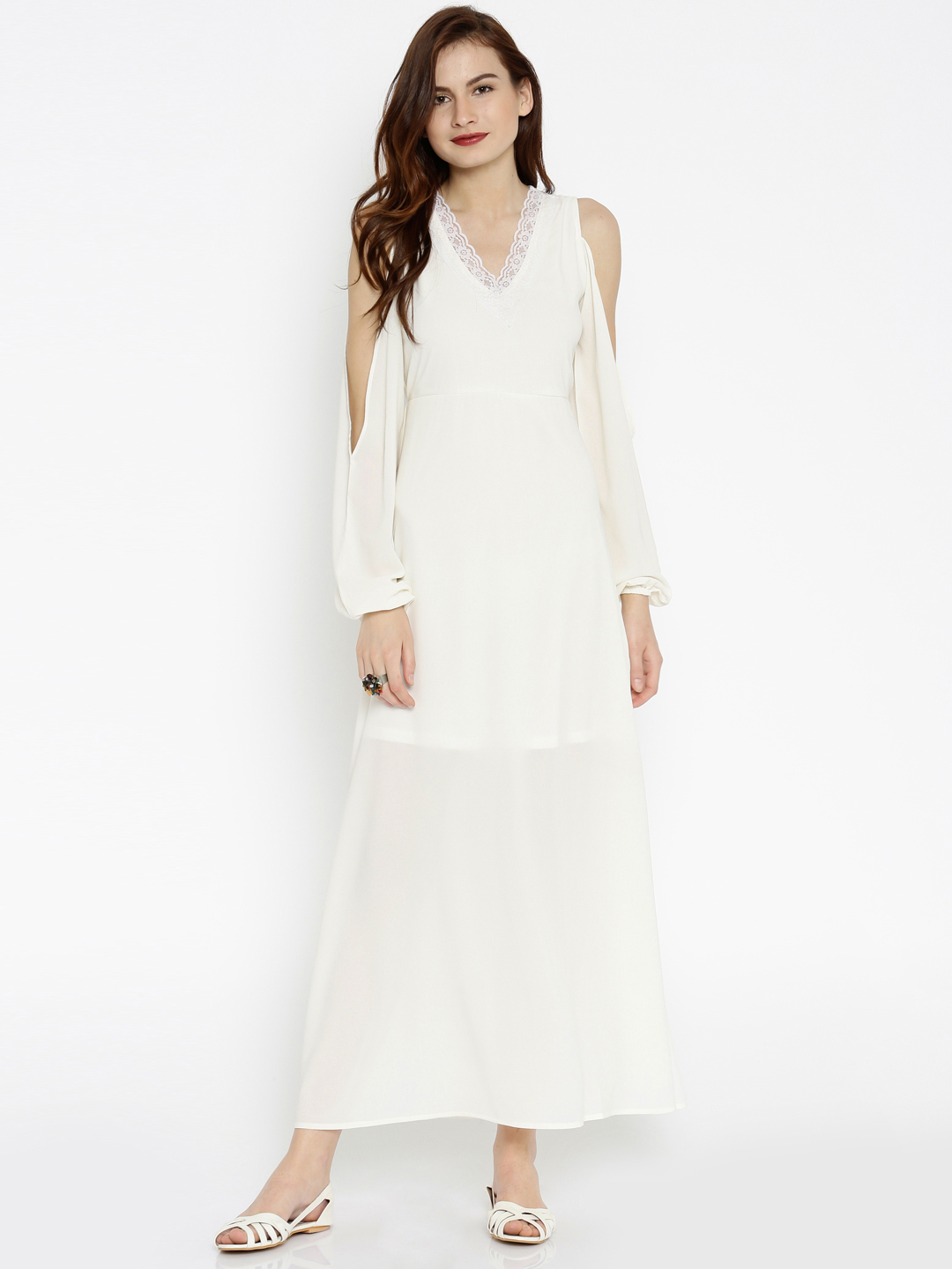 Women-White-Cold-Shoulder-Maxi-Dress-with-Lace