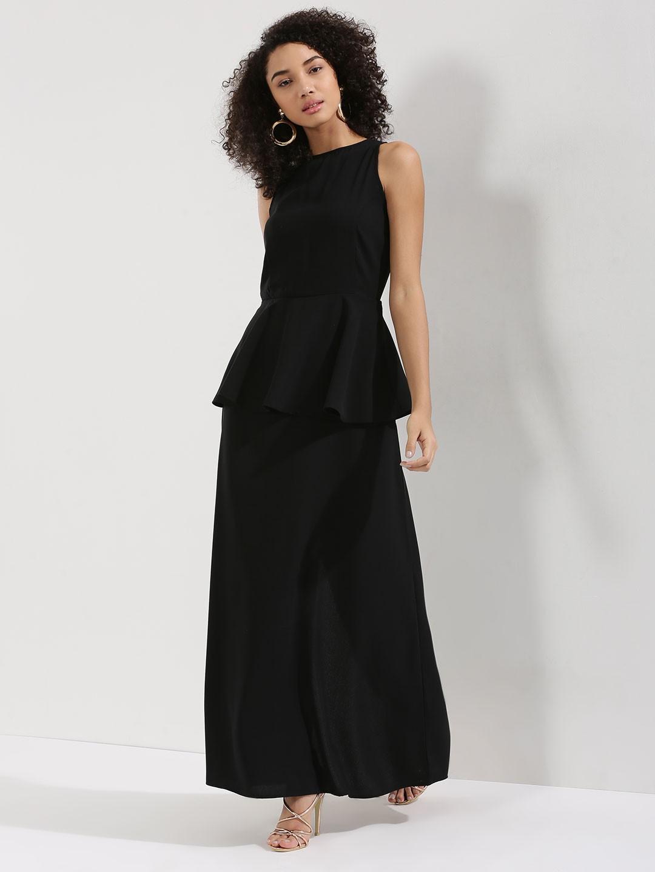 Peplum Overlay Maxi Dress