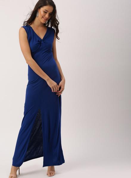 Deepika Padukone Women Blue Solid Bodycon Maxi Dress