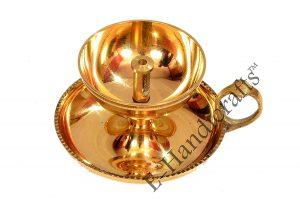 E-Handicrafts Brass akhand Handle Jyoti Diya